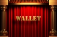 wallet golden word on red curtain