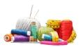 set of needlework objects isolated on white