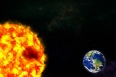 planet Earth and sun in galaxy space