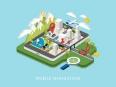 flat 3d isometric mobile navigation illustration